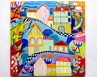 My city Oil painting Decorative painting Original art oil decorative picture city Decorative cityscape oil folk art painting original art