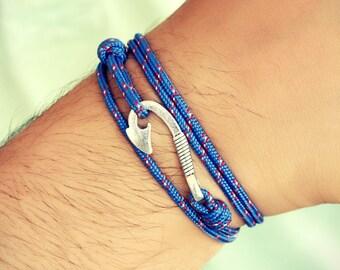Unisex Hook On Rope Bracelets, Birthday Gift, Women Bracelet, Men Gift Bracelet, Blue Red Green Nylon Bracelet, Summer, Boyfriend Gift