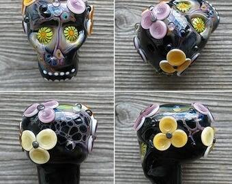 Sugar Skull lampwork bead