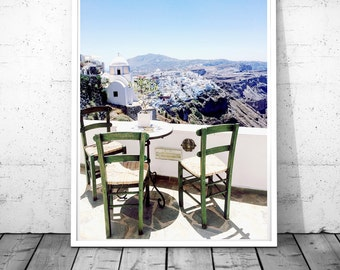 Santorini Print, Greece photography, Greek islands poster, Santorini wall art, Caldera wall decor, Cafe Photo Fine art, Digital Download