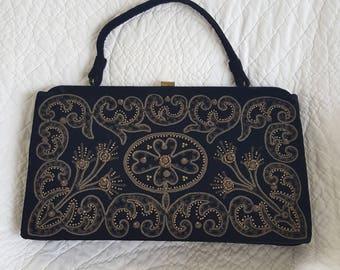 Vintage Soure   Bag of New York  black velvet metal embroidered  evening bag purse