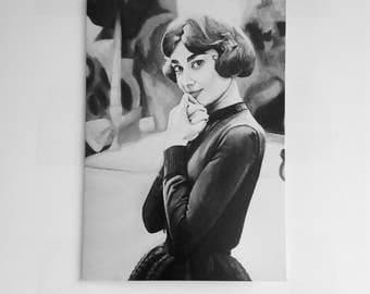 AUDREY HEPBURN greeting card - portrait showing Audrey Hepburn in a cute and thoughtful pose - print of 'Audrey' painting by Stephen Mahoney