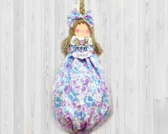 Purple decor, purple floral decor, purple wall decor, plastic bag holder, grocery bag holder, kitchen storage, kitchen wall decor, bag doll