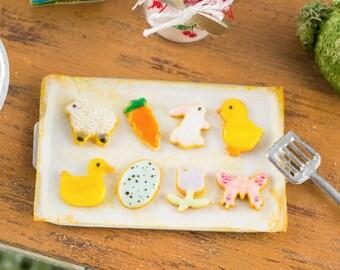 Easter Cookies on Baking Sheet - One Dozen - 1:12 Dollhouse Miniature