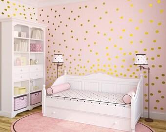 Metallic Wall Decals metallic gold wall decals polka dot wall sticker decor