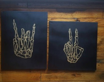 "Skeleton Rock Hands/ Peace Sign 11x14"" or 12x12"" Black Canvas, Rock Hands, Metallic on Black, Alt Decor, Pop Punk, Punk Rock, Music Gifts"