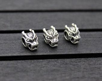 Sterling Silver Dragon Head Beads,Sterling Silver Dragon Head,Silver Dragon beads, silver spacer bead,Fits European Bracelets