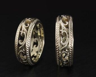 White gold wedding bands, Filigree wedding rings, Nature wedding bands set, Vintage style ring set, Unique wedding rings, Couple rings