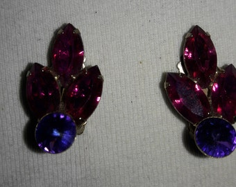 Fuchsia Hot Pink and Purple Rhinestone Vintage Clip On Earrings