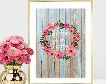 Printable art Digital Prints flower wreath home sweet home