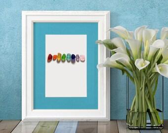 "Rainbow of Sea Glass Nuggets Print - 8x10"" mat with 5x7"" seaglass mosaic print"