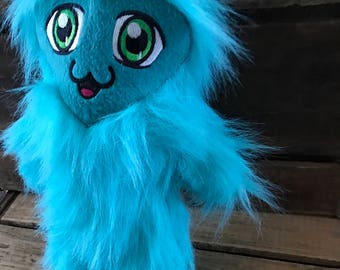 blue monster plush toy, cotton candy monster yeti, Kawaii monster plush, monster friend with Kawaii eyes, Kawaii monster plushie, yeti plush