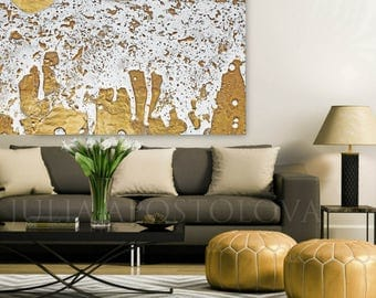 Gold Leaf Print, Gold Foil Painting, White and Gold, Abstract Art, Extra Large Wall Art, Decor, FineArtist Julia Apostolova, ''Molten Gold''