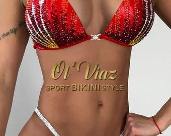 Red Metallic Spandex Bikini Suit with Crystals/Competition Suit/Posing Suit/Rhinestone Fitness