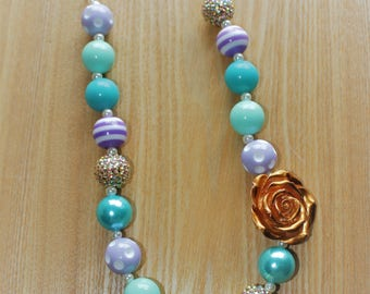 Gold Flower Pendant with Teal and Purple Accents Chunky Bead Necklace