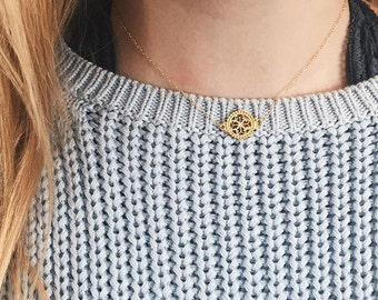 The Laurel Choker - Gold chain choker with floral connector/charm - dainty necklace - floral necklace - flower charm - gold chain choker