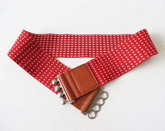 Red Elastic Belt Red Cinch Belt with Four Silver Metal Clasp Closure Women's Belt Genuine Lather Trim Stretch Minnie Mouse Wide Waist Belt