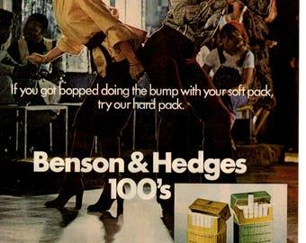 Benson & Hedges 100s Cigarrettes 1970s Magazine Ad 1705