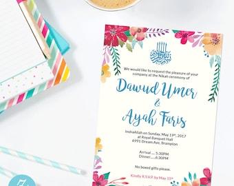 Islamic Wedding EVITE | downloadable invite | Nikkah, Walima email invitation, Muslim wedding Invitation, Custom wedding evite