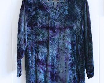 90's velvet, lace, short turtle neck, top, long sleeve, 90's, purple, blue, tie dye