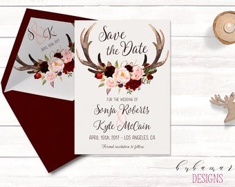 Antlers Save the Date Invitation Floral Burgundy Autumn Save Date Invite Marsala Flowers Deer Horns Fall Digital Invite - WS035