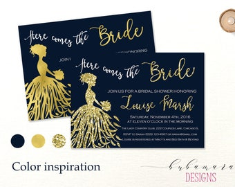 Navy Gold Here Comes the Bride Bridal Shower Invitation Dress Silhouette Gold Glitter Shower Invite Gold Confetti Modern Invitation - BS005