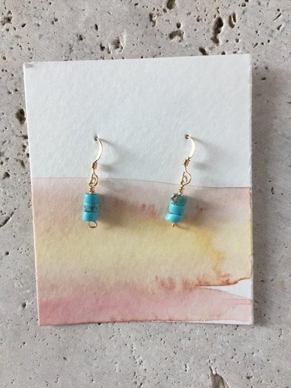 handmade, turquoise dyed howlite, delicate dangle earrings, boho style