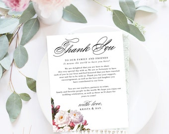 Wedding Thank You Letter / Wedding Thank You Note, Printable Thank You, Wedding Thank You - Heather