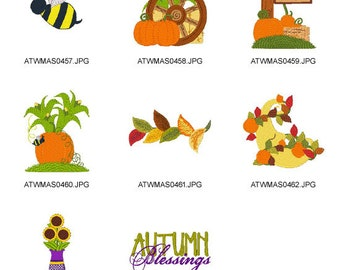 Autumn-Blessings ( 8 Machine Embroidery Designs from ATW ) XYZ17B