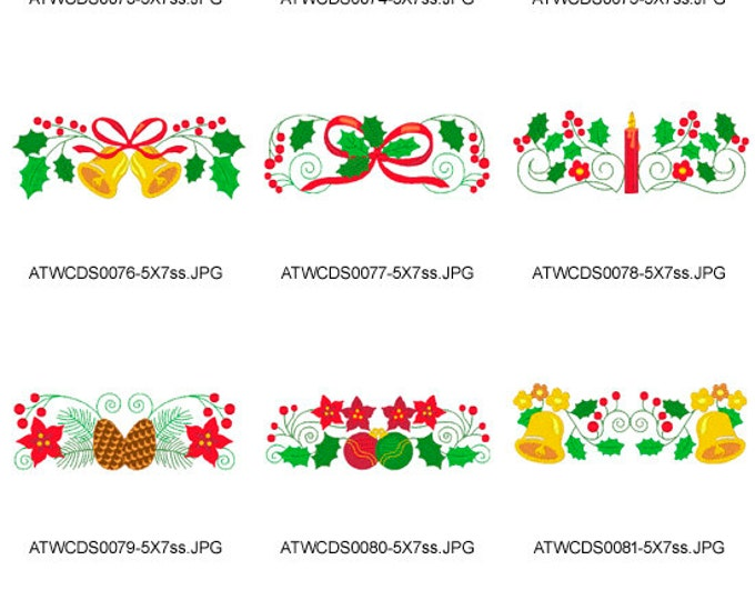 Jacobean-Christmas-Borders-5x7. ( 10 Machine Embroidery Designs from ATW )