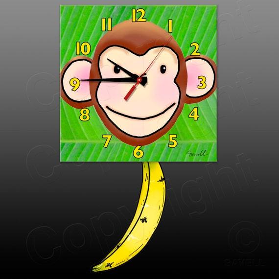 Monkey Clock with Banana Pendulum • Chimp Clock • Jungle Clock