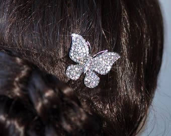 Pretty & Sparkly Clear Crystal Rhinestone Butterfly Hair Clip, Wedding (Sparkle-2494)
