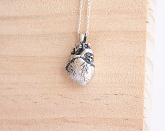 Lolita Silver Heart Pendant, Sterling Silver, Anatomically Correct Heart, Anatomical Heart, Real Heart Necklace, Gift For Him, Alternative