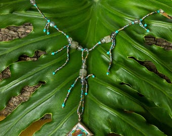 Borealis necklace/ shaman jewelry/ tassel necklace/ aurora inspired/ antique seed beads/ abalone shell/ labradorite beaded/ goddess jewelry