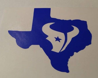 Texans Football State Decal - permanent vinyl - perfect for Yeti & Rtic cups, coolers, windows, etc. Decal only
