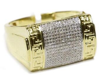 0.33 CT. Greek Patterned Diamond Statement Ring in 10K Gold