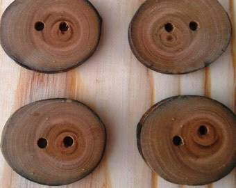 Branch buttons. 4 Cherry buttons. Wooden buttons.