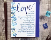 Floral Blue Love Is Patient Card - 1 Corinthians 13:4-8 - Wedding Card - Engagement Card - Anniversary Card - Christian Cards - Floral Cards