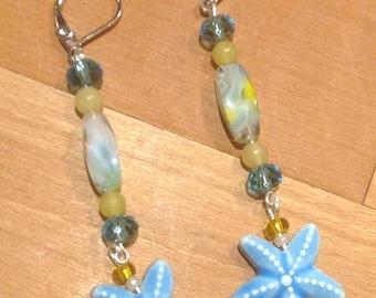 Blue Starfish Earrings Starfish Jewelry Star Fish Earrings Star Fish Jewelry Beach Jewelry Beach Earrings Starfish Gift Star Fish Gift
