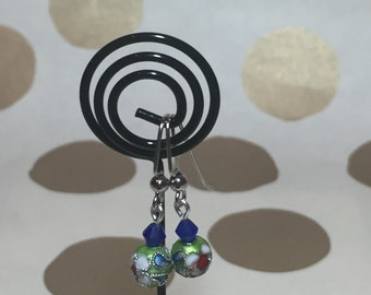 Lime Green and Blue Earrings