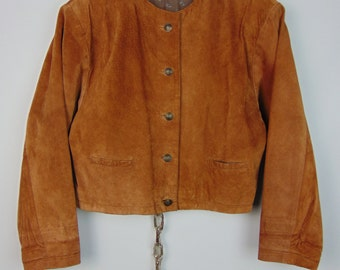 Vintage Cropped Tan Suede Jacket