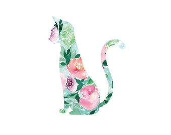 Watercolor flower cat print 8x10, floral watercolor, floral cat, giclee print, flower cat silhouette, nursery print, floral animal print cat