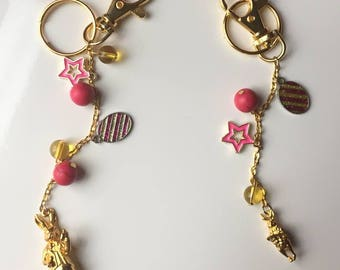 Pink Turquoise Citrine Keychain