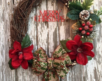 Holiday Grapevine Wreath |  Christmas Wreath |  Winter Wreath |  Front Door Decor |  Wall Hanging |   Rustic Decoration | Holly Berries