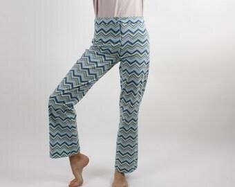 Bootcut Leg Pants Stripped Disco Pants Blue Vintage Pants Wide Leg Pants Hippie Pants Long Palazzo Pants 80s Pants Size Small