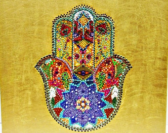 Hand of  fatima, hamsa, image, handpainted,  mural, protection, symbol, talisman, mysticism, arabic symbol, oriental, magic,