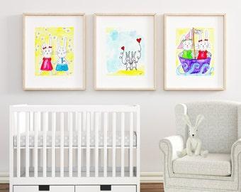 SET OF 3 Nursery Decor Whimsical Animal Art Prints, Little bunny rabbit nursery print, Whimsical nursery bunny print, Playroom prints