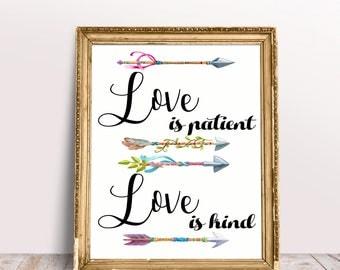 Love is patient love is kind,quote printable wall decor,wedding gift,1 Corinthians 13:4 bible verse print,Bible verse art scripture print