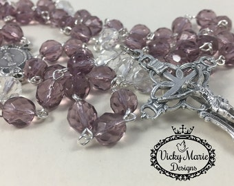 Catholic Rosary, Purple Faceted Preciosa Rosary, Five Decade, Silver Rosary, 5 decade, Baptism First Communion, Confirmation, Wedding