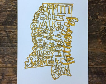 University of Southern Mississippi, USM, Hattiesburg Hand-lettered State